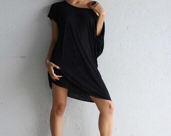 Black Tshirt Dress - Off the Shoulder Dress - TShirt Dress - Oversized Dress - Black Tunic