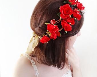red flower crown, red floral crown, red rose crown, red headband, floral crown headband, red flower headband, red hairband, floral headpiece