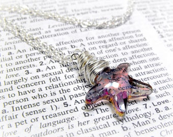 Starfish Crystal Necklace, Swarovski Crystal Sterling Silver Wire Wrapped