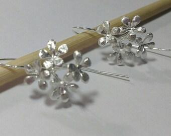 Sterling Silver long multi flower earrings