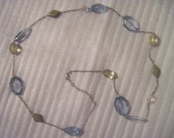 Vintage Translucent Blue & Clear Beaded Ladies Necklace On Link Chain