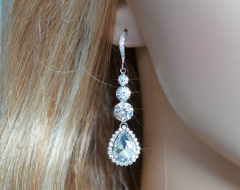 Graduated Crystal Clear Rhinestone Teardrop Dangle Earrings, Bridal, Wedding (Sparkle-966)