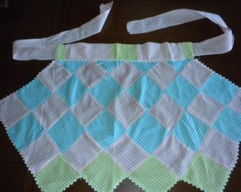 Vintage half apron patchwork pastel gingham pink aqua green rickrack