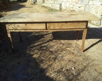kitchen table, handmade antique tocinera table in Chestnut Wood | Spain