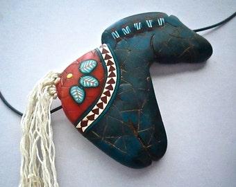 Horse Pendant, Lapis Pendant, Native American, Polymer Clay, Primitive Necklace, Horse Fetish, Custom Jewelry, Wearable Art
