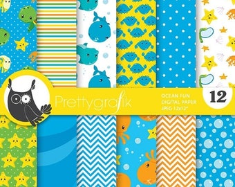 80% OFF SALE Scuba diving digital paper, snorkeling papers commercial use, scrapbook papers, background, sea animals - PS725