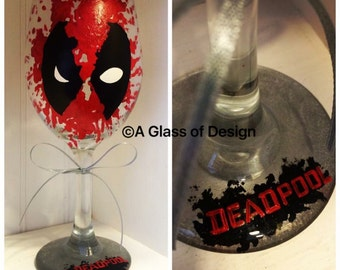 Deadpool wine glass, hand painted glasses , wine glasses, gifts for him, gifts, super hero glasses
