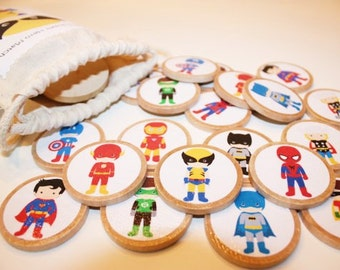 Superhero Memory Match Game- Personalized Wood Game, Educational Game, Wood Toy, Montessori, Wood Travel Toy, Wood Travel Gameu6