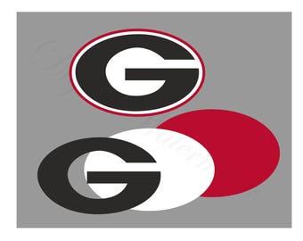 Georgia SVG and Studio 3 Cut File Cutouts Files Logo Stencil for Silhouette Cricut Decals SVGS Decal Team Sports Bull dog Football Bulldogs