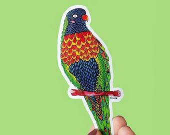Vinyl Rainbow Lorikeet Sticker - Waterproof Sticker, Australian Bird, Laptop Sticker, Planner Sticker, Water Bottle Sticker