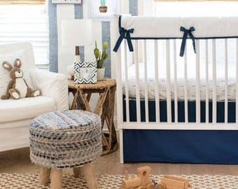 Navy Arrow Crib Baby Bedding Set