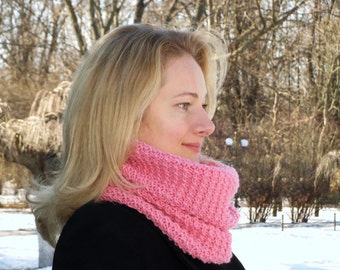 Pink scarf women knit infinity scarf pink wool scarf pink women scarf pink crochet scarf wrap scarf pink neck scarf knit women scarf pink