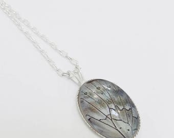 Silver Prepona Pendant, Oval Pendant, Neutral Tones, Butterfly Wing Necklace, Grey Cabochon Pendant, Silver Butterfly Jewelry, Gift for Her