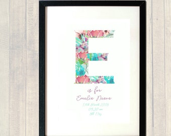 PERSONALSED CHILDRENS NAME  Name A4 Print; Name; Emalie; Emily; E is for; , Any Name and Theme! Nursery;Birthday Birth Announcement Keepsake