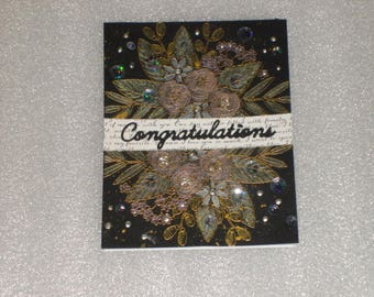 Handmade Fancy Congratulations Floral Wedding Card, Anniversary, Retirement, Engagement Card