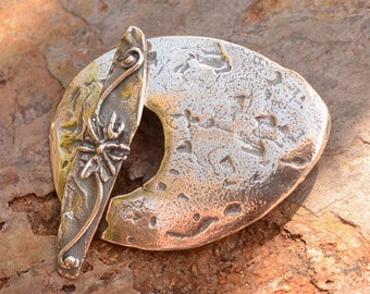 Artisan Sterling Silver Oval Toggle, Rustic Egg Shaped Clasp, CL-516-509, with Flower Toggle Bar