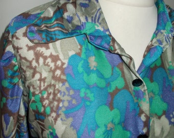 Vintage shirt blouse 60s floral print long sleeve  size large x large