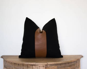 18x18 Faux Leather and Black Linen Pillow Cover