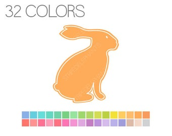 Pastel Easter Bunny Clip Art, Rabbit Clip Art, Spring Digital Clipart, Instant Download, Commercial Use