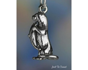 Sterling Silver Sea or River Otter Charm Otters with Fish 3D Solid 925