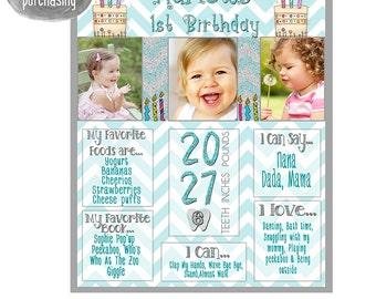 First Birthday Chalkboard, Birthday Chalkboard, Girl 1st Birthday, 1st Birthday Chalkboard, Birthday Chalkboard, Digital  File