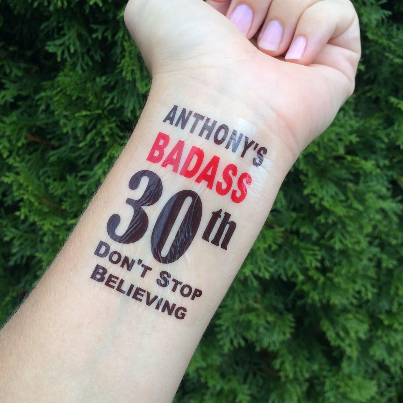 BadXss 30th 30th Birthday Temporary Tatoo Fake Tattoo