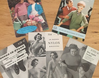 5 x vintage Paton & Baldwin knitting patterns