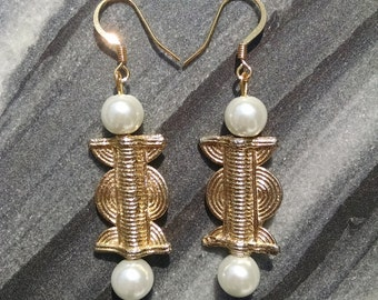 Gold Weight and White Pearl Earrings