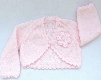 Knit baby sweater. Hand knitted baby clothes. Pink baby cardigan  to fit 0 to 3 months, Baby girl clothes, baby shower gift, baby girl gift
