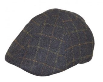 Flat cap 6 panel hat wool check design