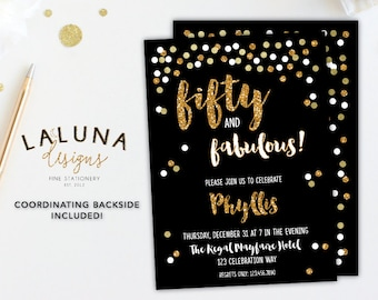 50th Birthday Invitation, Fifty and Fabulous, 50th Birthday Invites, Adult Birthday Invitation, Gold Confetti Birthday Invitation