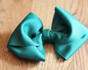 """Emerald Green Texas Sized Big Girl Boutique Grosgrain 3"""" Bow Clip US Seller"""