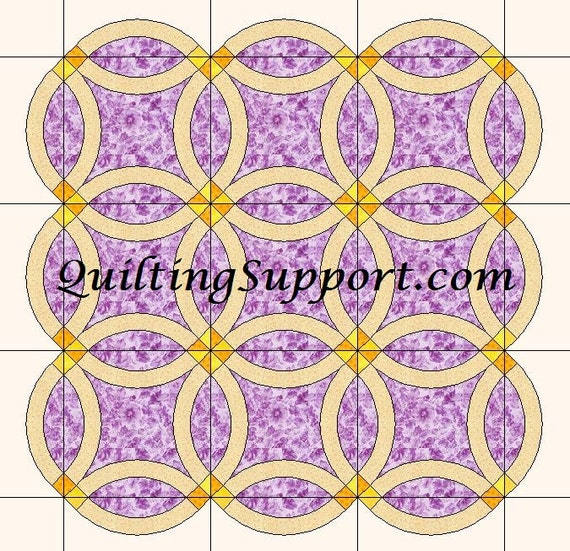 Basic Double Wedding Ring Quilt Template Patterns for 6 SIZES from