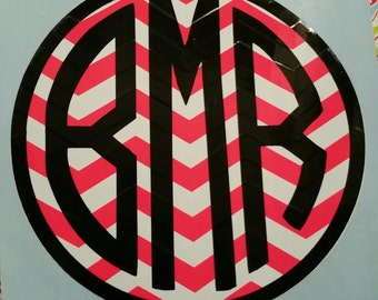 Circle Chevron monogram Decal, Circle decal, Monogram decal, Custom decal, Circle