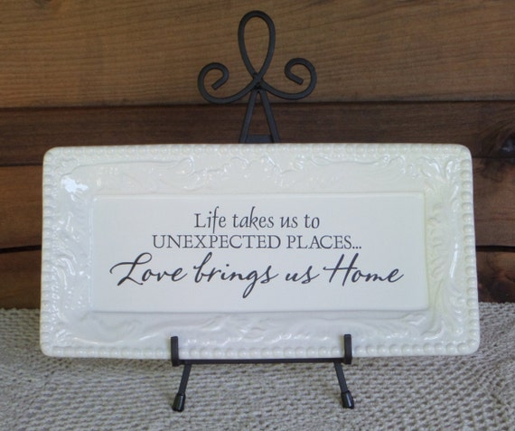 LOVE brings US HOME - Parent Gift - Decorative Plate - Gift for Mom - Our Home - Life Adventure - No Place Like Home - Housewarming Gift