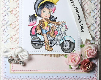 Happy Mother's Day Biker Chick Babe Mom Mother Mum Motorcycle Parent Mothers Day Handmade Floral One of A Kind Unique Unusual Greeting Card