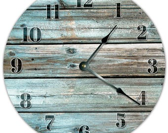 "10.5"" TEAL BOARDS Clock - Living Room Clock - Large 10.5"" Wall Clock - Home Décor Clock - 8006"