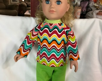 Two Piece Outfit for American Girl, My Life or other 18'' compatiable dolls.