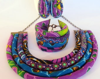 Bright purple necklace set - African Print Jewelry Cobalt Blue and Pink