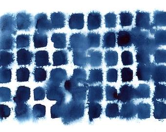 indigo grid, abstract watercolor & ink wash, large poster print