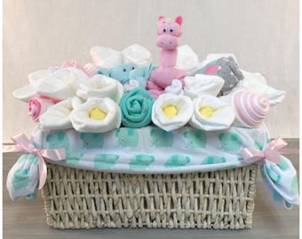Baby shower gift basket etsy baby shower gift basket fo girl pink and teal elephant and giraffe new granddaughter negle Images