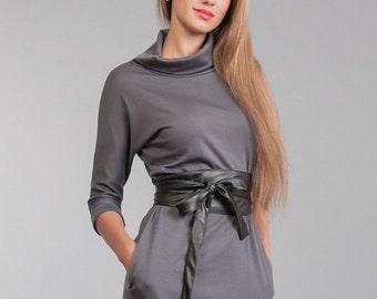 Dress gray Long sleeve Jersey dress autumn dress with drape office dress