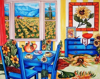 Art Print, Interior, Kitchen, Sunflowers, Chairs, van Gogh Print Wall Art,