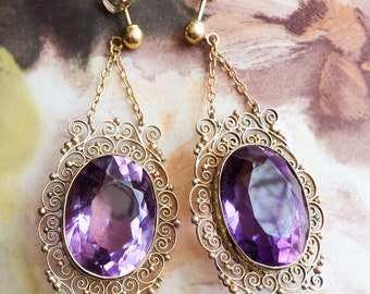 Amethyst Large and Lacy 17.93ct.tw. Filigree Vintage Drop Earrings 14k