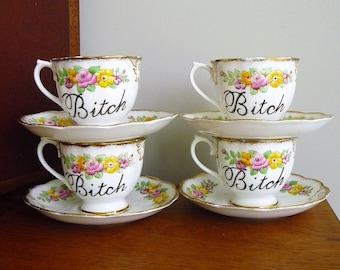 Bitchy Tea Party 4 x hand painted vintage china tea sets pink and yellow rosy recycled funny sweary tea party