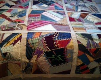 20 Antique Vintage Crazy Quilt Knot Patchwork Embroidary Painted Cotton Back Squares for Pillows or Carrage Blanket