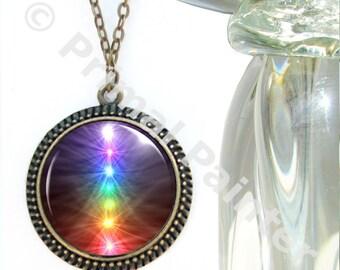 "Chakra Necklace, Reiki Energy Pendant, Unique Jewelry ""Chakra Balance"""
