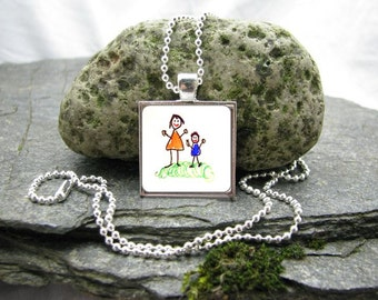 Your Child's Artwork Necklace, Custom Photo Pendant Necklace, Kid's Art Necklace