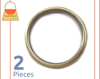 "2 Inch Antique Brass / Bronze Cast O Rings, 2 Piece Package, Handbag Purse Bag Making Hardware Supplies, 2"", RNG-AA110"