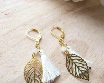 Gold leaf and white tassel Bohemian earring
